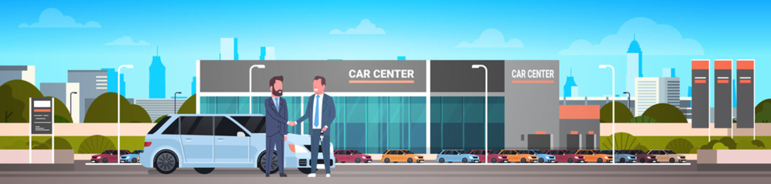 Purchase Sale Or Rental Center Seller Man Giving Keys To Owner Car Showroom Background Horizontal Banner Flat Vector Illustration