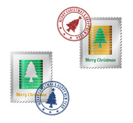 Abstract Christmas tree on a postage stamp