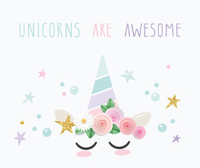 Unicorn cute catroon character. For birthday, baby shower, clothes and posters design. Vector