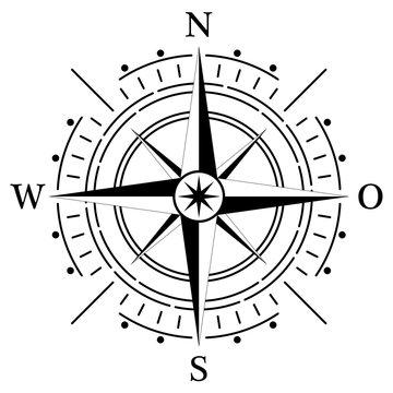 Kompass rose für Marine- oder Seefahrt und geographische Karten mit allen wichtigen Windrichtungen auf einem isolierten weißen Hintergrund als Vektor in eps oder ai.