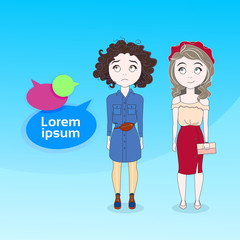 Two Young Female With Chat Bubble Cute Girls Communication Concept Vector Illustration