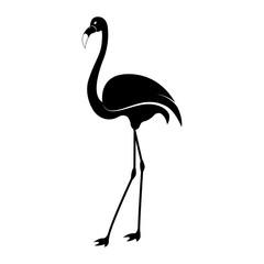 Vector image of a silhouette of a flamingo bird