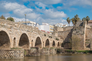 View of the ancient Roman bridge of the city of Merida, ancient Emerita Augusta in Roman times
