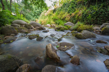 Long exposure of the Ambroz River as it passes through the town of Hervás, Cáceres, Extremadura. Spain