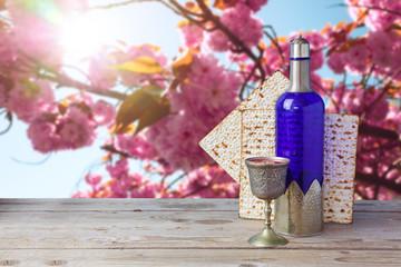 Passover matzo and wine