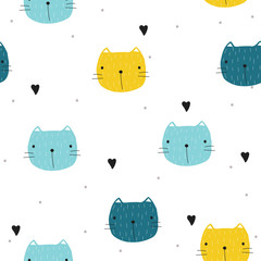 Funny seamless pattern with cartoon cat. Vector hand drawn illustration.