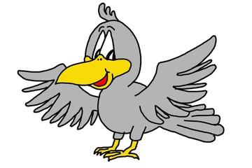 Karikatur Vogel, Rabe, Krähe