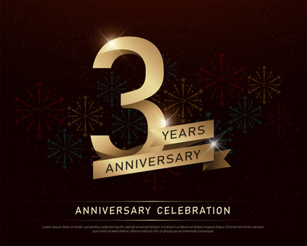 3rd years anniversary celebration gold number and golden ribbons with fireworks on dark background. vector illustration