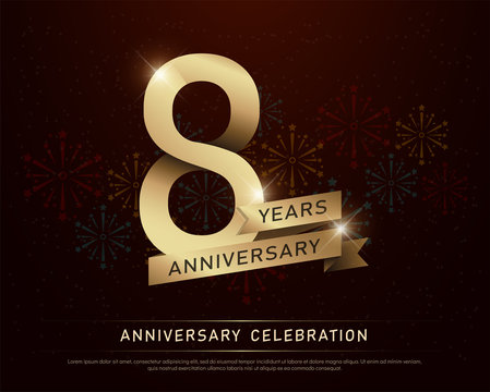 8th years anniversary celebration gold number and golden ribbons with fireworks on dark background. vector illustration