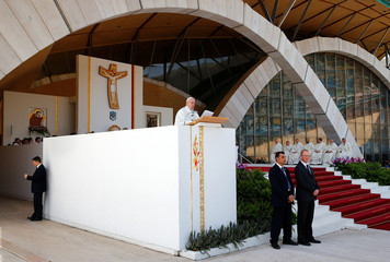 Pope Francis celebrates a mass in San Giovanni Rotondo