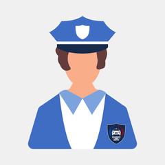 Police worker icon. Woman worker. Cartoon style. Vector Illustration