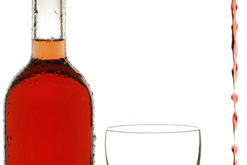 Bottle of wine, glass of wine, backlight, white background, rose wine, wine, liquid