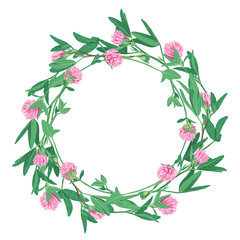 Floral wreath with clover isolated on white