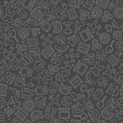 Seamless background of objects on a grey background