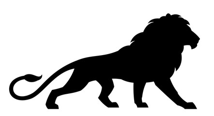 Black lion on a white background