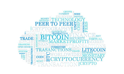Word tag cloud bitcoin crypto currency, vector