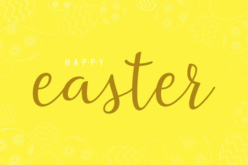 Easter bunny and egg in a flat design on yellow background