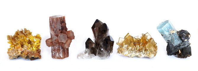 A row of five crystal clusters; Mimetite, Aragonite, Smoky Quartz, Barite (Baryte) and Aquamarine with Tourmaline.