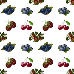 Seamless wallpaper with berries on a white background.
