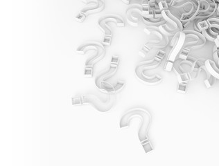 Abstract 3d question marks on white background