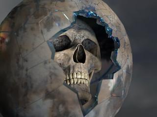 skull in a broken space suit