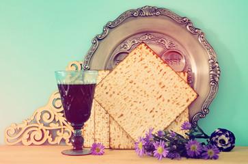 Pesah celebration concept (jewish Passover holiday). Translation for Hebrew Text: bone.