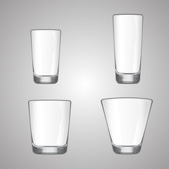 Collection of transparent empty glass, on gray gradient background,