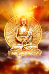 Wall Mural - a statue of Buddha over sunrise cloudy sky with rays of sun