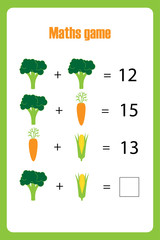 Maths game with pictures (vegetables) for children, easy level, education game for kids, preschool worksheet activity, task for the development of logical thinking, vector illustration