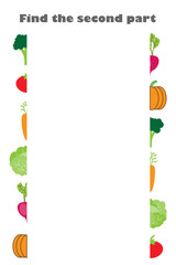 Find the second part of vegetables (tomato, broccoli, carrot) in cartoon style for children, preschool worksheet activity for kids, task for the development of logical thinking, vector illustration