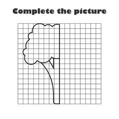 Complete the picture, black white broccoli, drawing skills training, educational paper game for the development of children, kids preschool activity, printable worksheet, vector illustration