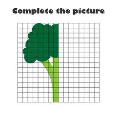 Complete the picture, broccoli in cartoon style, drawing skills training, educational paper game for the development of children,  kids preschool activity, printable worksheet, vector illustration