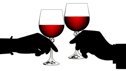 Black silhouettes of man's and woman's hands clink glasses with red wine isolated on white
