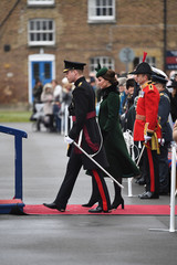 Britain's Catherine, Duchess of Cambridge and Prince William attend the presentation of Shamrock to the 1st Battalion Irish Guards, at a St Patrick's Day parade at Cavalry Barracks in Hounslow, London
