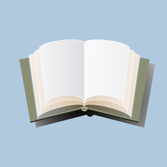 Open book hardcover on a light blue background. Vector illustration.