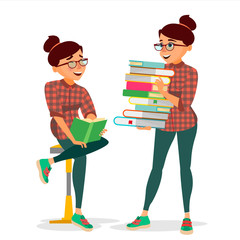 Woman In Book Club Vector. Carrying Large Stack Of Books. Studying Student. Library, Academic, School, University Concept. Isolated Flat Cartoon Illustration