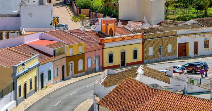 Panoramic view of colorful houses in Castro Marim, Southern Portugal; high angle view.