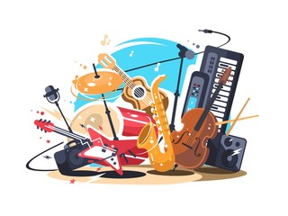 Musical instruments on stage Wall mural