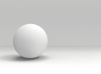 3d rendering. A White sphere shape ball on gray copy space background.