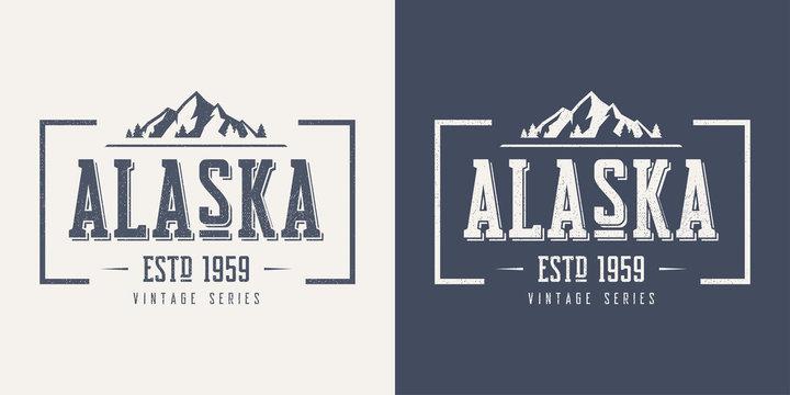 Alaska state textured vintage vector t-shirt and apparel design,