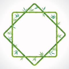 Green bamboo frame on white background. Vector illustration