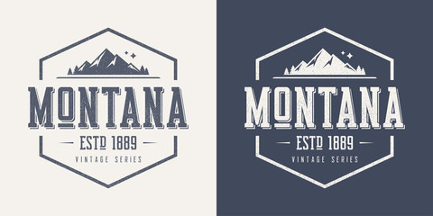 Montana state textured vintage vector t-shirt and apparel design