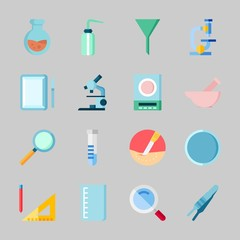Icons about Laboratory with desiccator, measuring, loupe, surgery, beaker and watch glass
