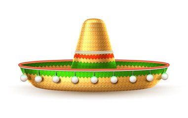 Vector sombrero 3d mexican hat cinco de mayo
