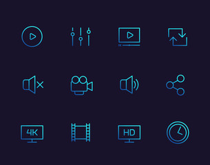 video player line icons set for apps and web