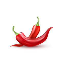 Vector realistic red hot chili pepper