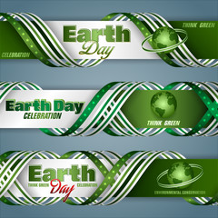 Set of banners background, design with texts and green Earth globe for Earth day celebration; Vector illustration