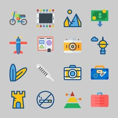 Icons about Travel with suitcase, motorbike, smartphone, mo smoking, photo camera and money