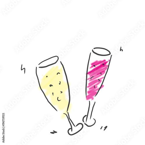 シャンパンスパークリングワインで乾杯アルコールジュース飲み物