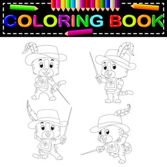 kitten musketeer with sword coloring book